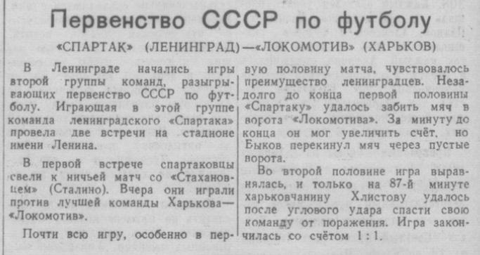 Спартак (Ленинград) - Локомотив (Харьков) 1:1