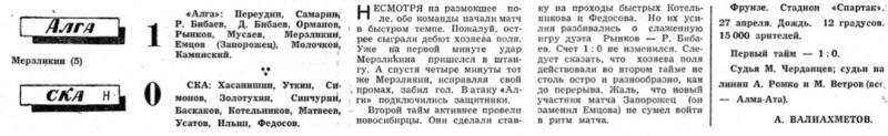 Алга (Фрунзе) - СКА (Новосибирск) 1:0. Нажмите, чтобы посмотреть истинный размер рисунка