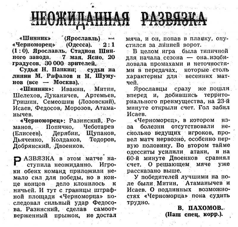 Шинник (Ярославль) - Черноморец (Одесса) 2:1. Нажмите, чтобы посмотреть истинный размер рисунка