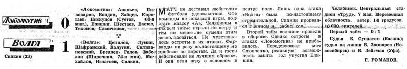 Локомотив (Челябинск) - Волга (Горький) 0:1. Нажмите, чтобы посмотреть истинный размер рисунка