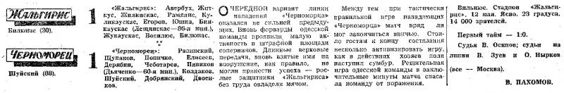 Жальгирис (Вильнюс) - Черноморец (Одесса) 1:1. Нажмите, чтобы посмотреть истинный размер рисунка
