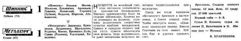 Шинник (Ярославль) - Металлург (Запорожье) 1:1. Нажмите, чтобы посмотреть истинный размер рисунка