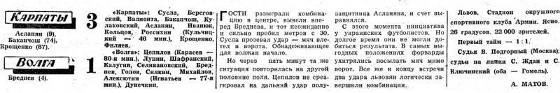 Карпаты (Львов) - Волга (Горький) 3:1. Нажмите, чтобы посмотреть истинный размер рисунка