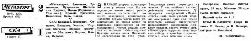 Металлург (Запорожье) - СКА (Новосибирск) 2:1. Нажмите, чтобы посмотреть истинный размер рисунка