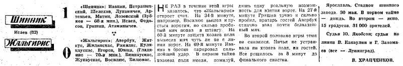Шинник (Ярославль) - Жальгирис (Вильнюс) 1:0. Нажмите, чтобы посмотреть истинный размер рисунка
