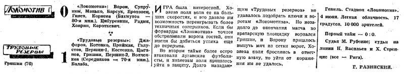 Локомотив (Гомель) - Трудовые резервы (Луганск) 0:1. Нажмите, чтобы посмотреть истинный размер рисунка