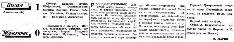 Волга (Горький) - Жальгирис (Вильнюс) 1:0. Нажмите, чтобы посмотреть истинный размер рисунка