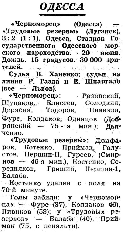 Черноморец (Одесса) - Трудовые резервы (Луганск) 3:2