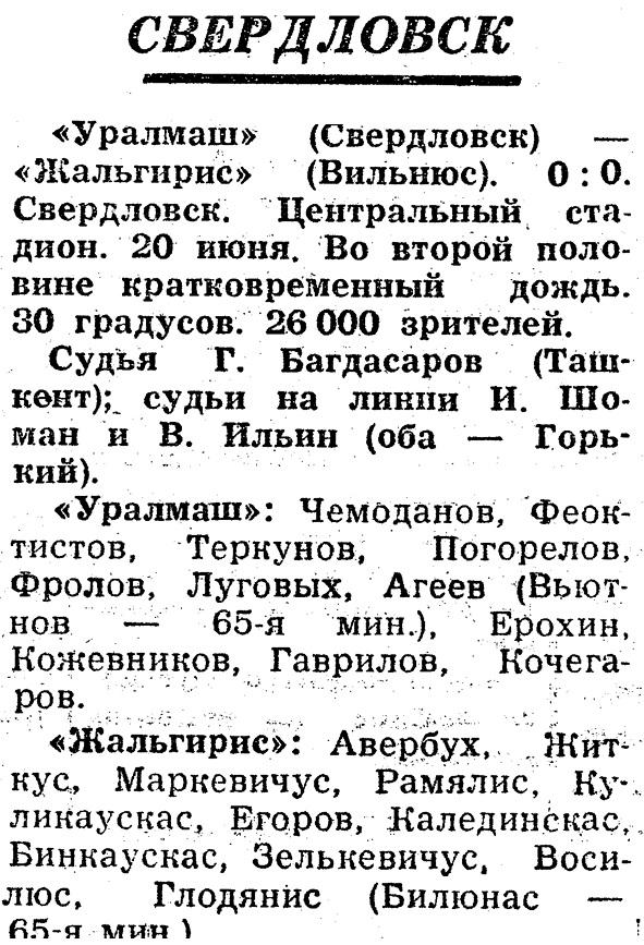 Уралмаш (Свердловск) - Жальгирис (Вильнюс) 0:0