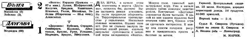 Волга (Горький) - Даугава (Рига) 2:1. Нажмите, чтобы посмотреть истинный размер рисунка