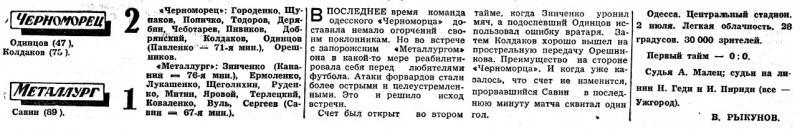 Черноморец (Одесса) - Металлург (Запорожье) 2:1. Нажмите, чтобы посмотреть истинный размер рисунка