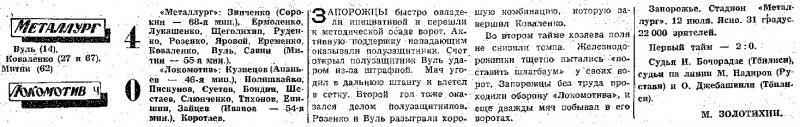 Металлург (Запорожье) - Локомотив (Челябинск) 4:0. Нажмите, чтобы посмотреть истинный размер рисунка