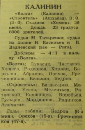 Волга (Калинин) - Строитель (Ашхабад) 3:0