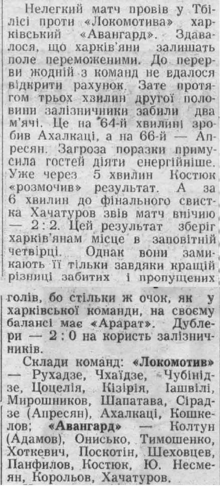 Локомотив (Тбилиси) - Авангард (Харьков) 2:2