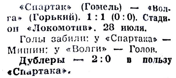 Спартак (Гомель) - Волга (Горький) 1:1