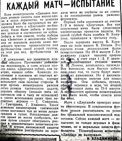 Динамо (Ленинград) - Даугава (Рига) 2:3