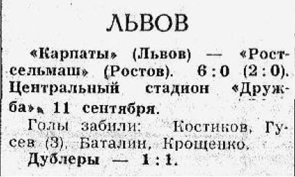 Карпаты (Львов) - Ростсельмаш (Ростов-на-Дону) 6:0