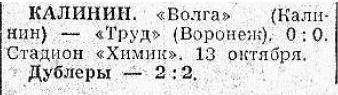 Волга (Калинин) - Труд (Воронеж) 0:0