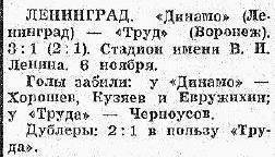 Динамо (Ленинград) - Труд (Воронеж) 3:1