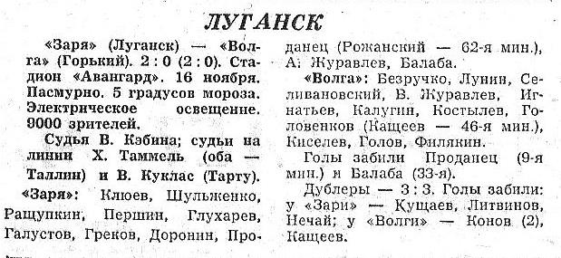 Заря (Луганск) - Волга (Горький) 2:0