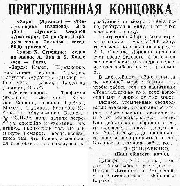 Заря (Луганск) - Текстильщик (Иваново) 2:2