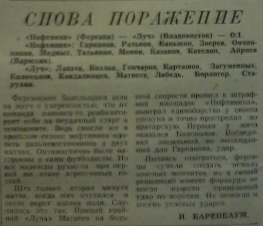 Нефтяник (Фергана) - Луч (Владивосток) 0:1