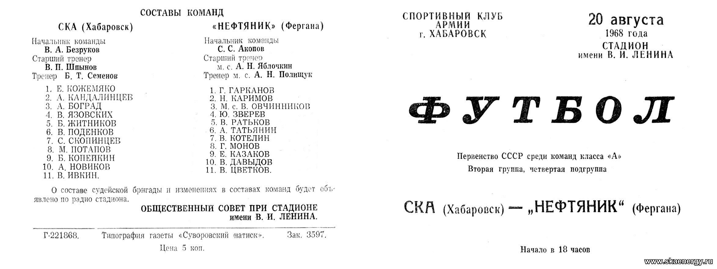 СКА (Хабаровск) - Нефтяник (Фергана) 3:0. Нажмите, чтобы посмотреть истинный размер рисунка