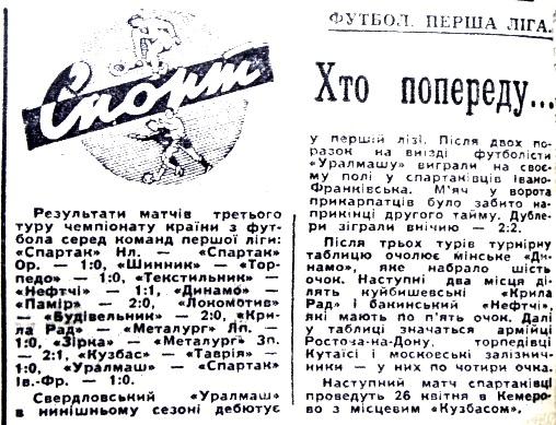 Уралмаш (Свердловск) - Спартак (Ивано-Франковск) 1:0