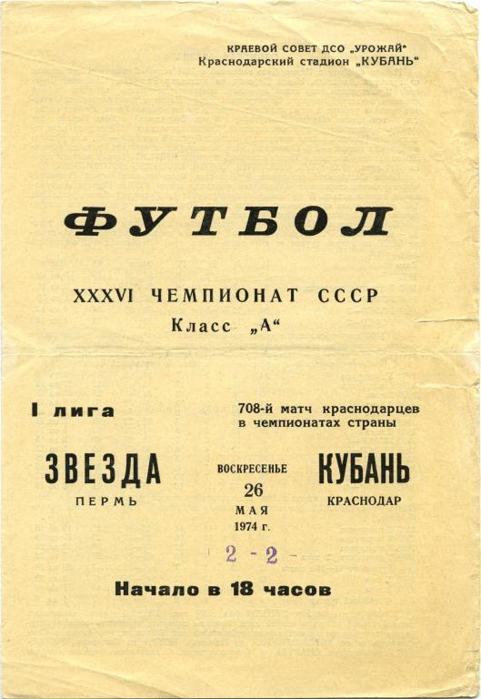 Кубань (Краснодар) - Звезда (Пермь) 2:2