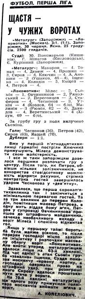 Металлург (Запорожье) - Локомотив (Москва) 3:1