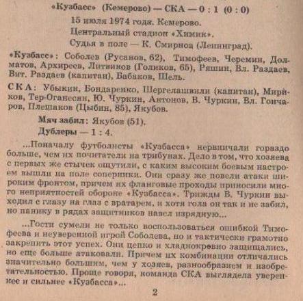 Кузбасс (Кемерово) - СКА (Ростов-на-Дону) 0:1