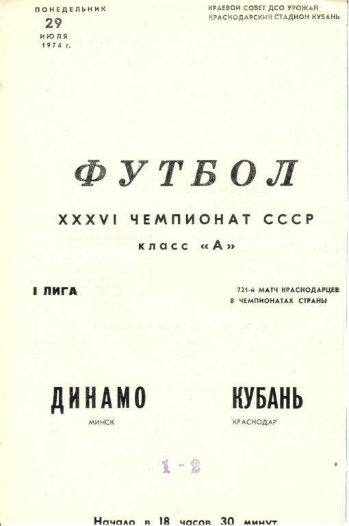 Кубань (Краснодар) - Динамо (Минск) 2:1