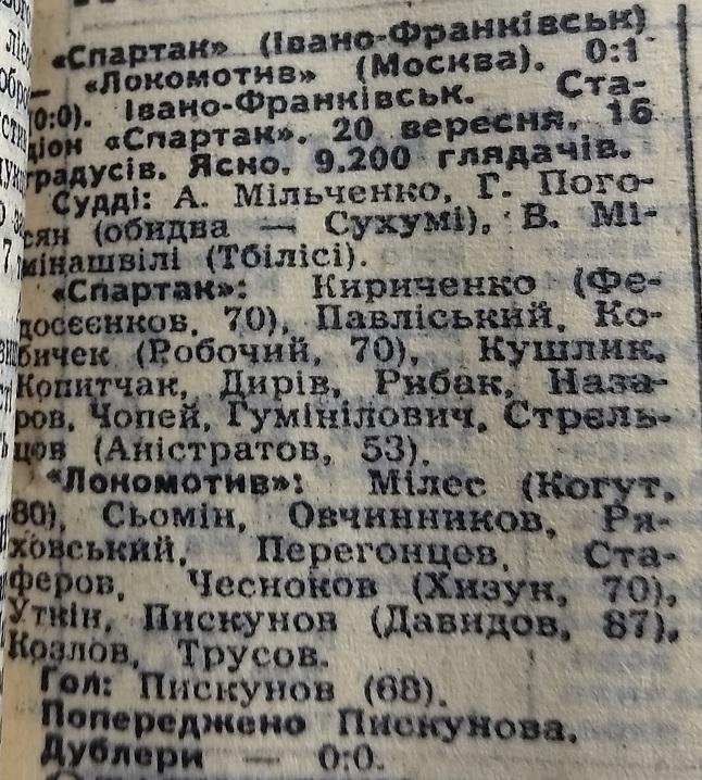 Спартак (Ивано-Франковск) - Локомотив (Москва) 0:1