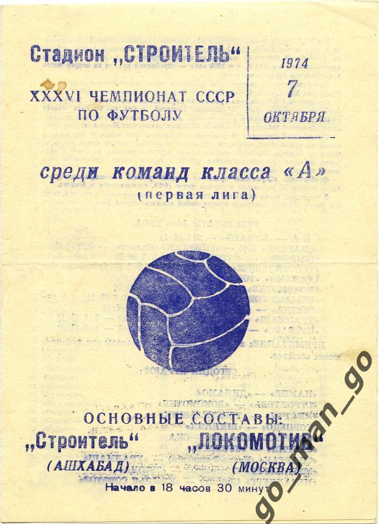Строитель (Ашхабад) - Локомотив (Москва) 1:1