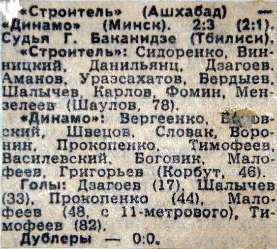 Строитель (Ашхабад) - Динамо (Минск) 2:3