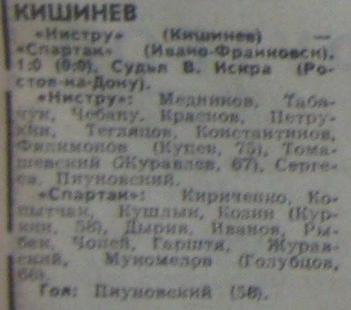 Нистру (Кишинёв) - Спартак (Ивано-Франковск) 1:0