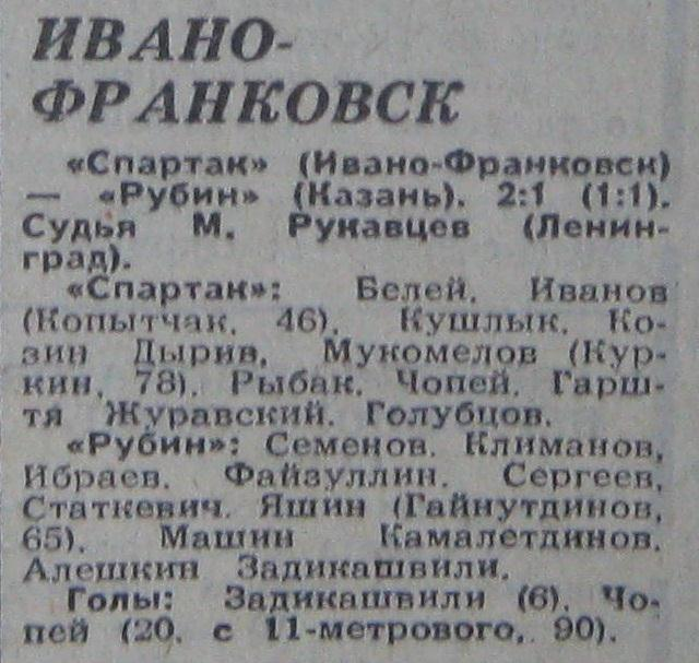 Спартак (Ивано-Франковск) - Рубин (Казань) 2:1