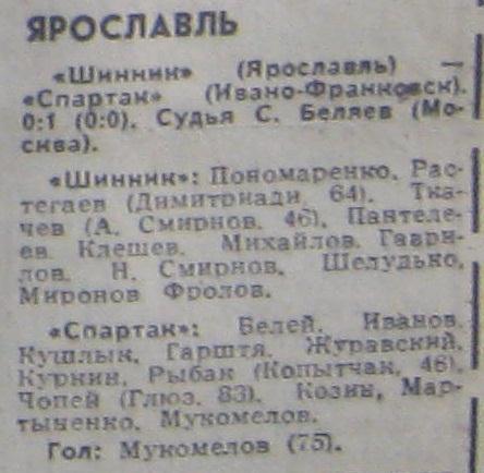 Шинник (Ярославль) - Спартак (Ивано-Франковск) 0:1