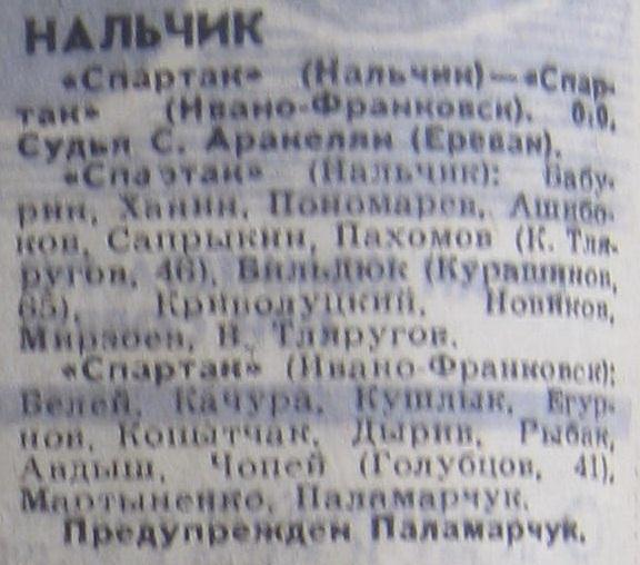 Спартак (Нальчик) - Спартак (Ивано-Франковск) 0:0