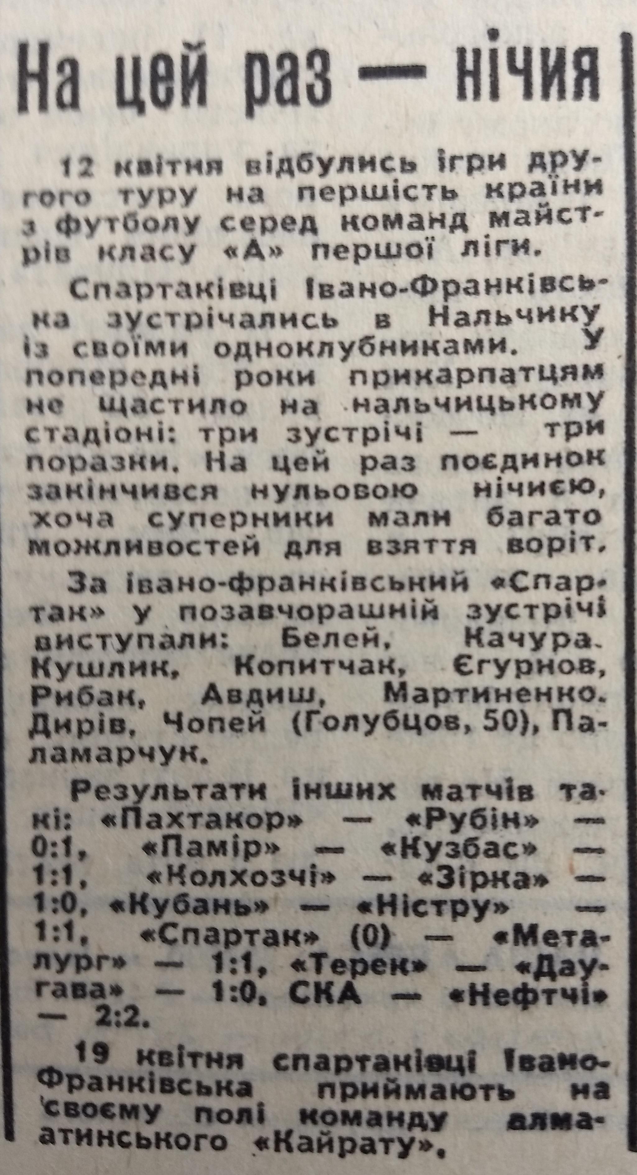 Спартак (Нальчик) - Спартак (Ивано-Франковск) 0:0. Нажмите, чтобы посмотреть истинный размер рисунка