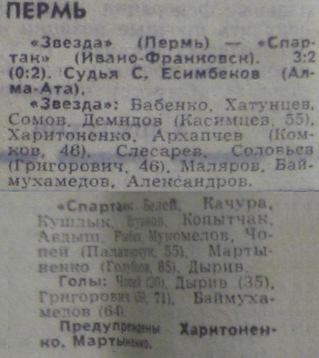 Звезда (Пермь) - Спартак (Ивано-Франковск) 3:2