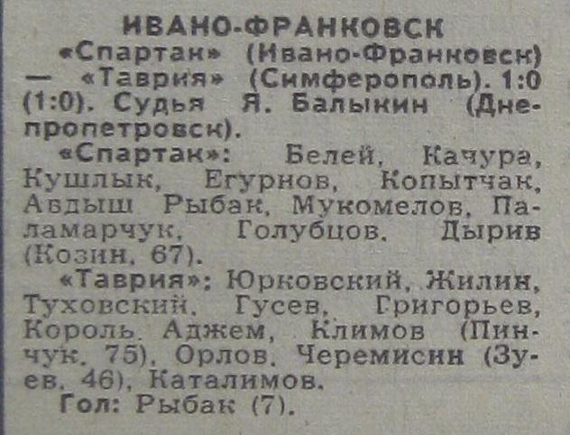 Спартак (Ивано-Франковск) - Таврия (Симферополь) 1:0