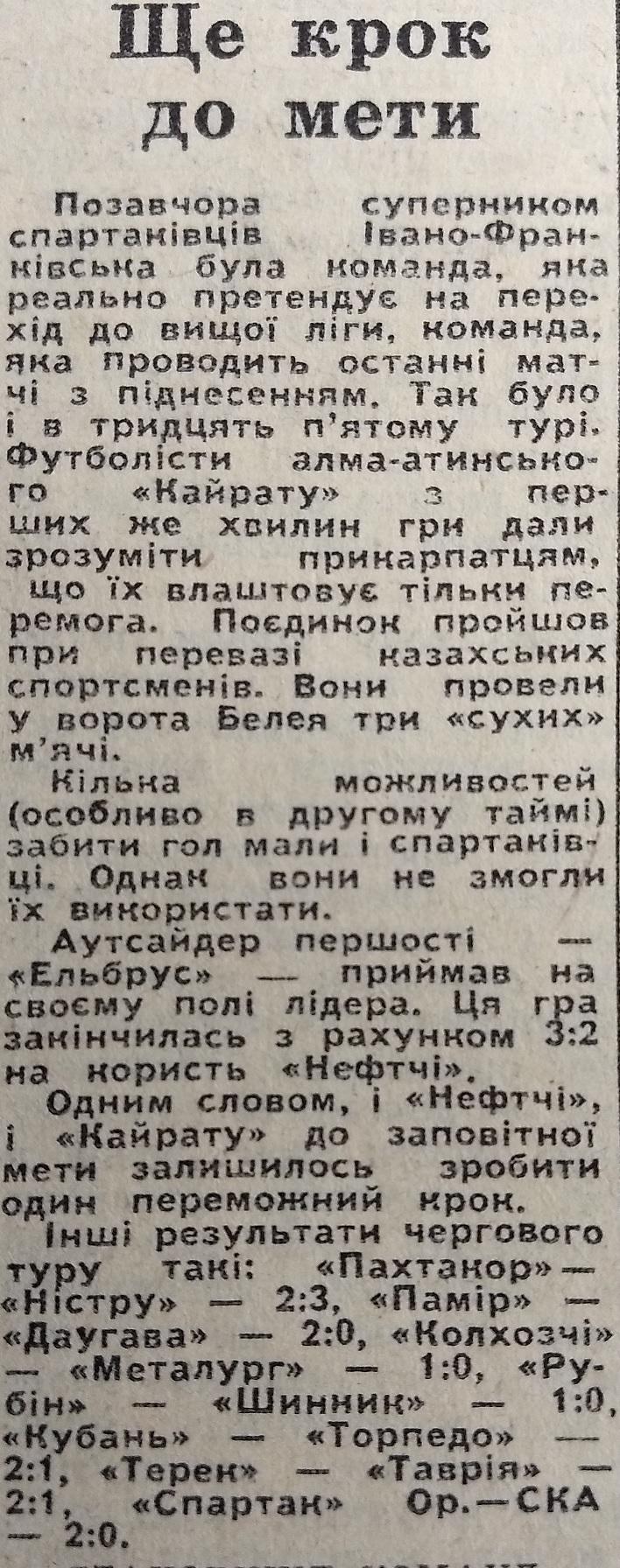 Кайрат (Алма-Ата) - Спартак (Ивано-Франковск) 3:0