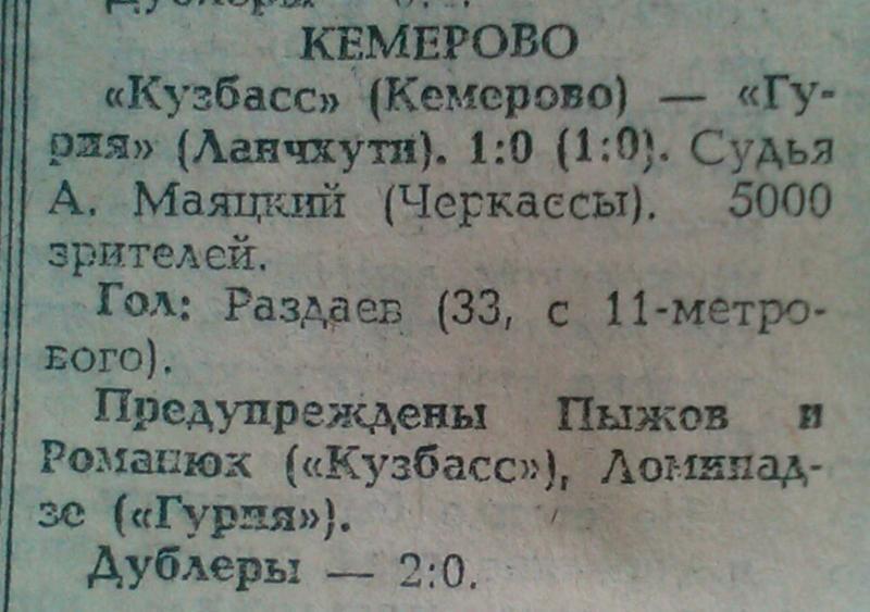 Кузбасс (Кемерово) - Гурия (Ланчхути) 1:0. Нажмите, чтобы посмотреть истинный размер рисунка
