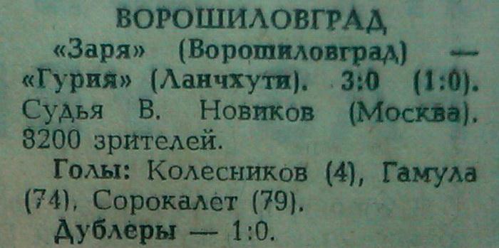 Заря (Ворошиловград) - Гурия (Ланчхути) 3:0
