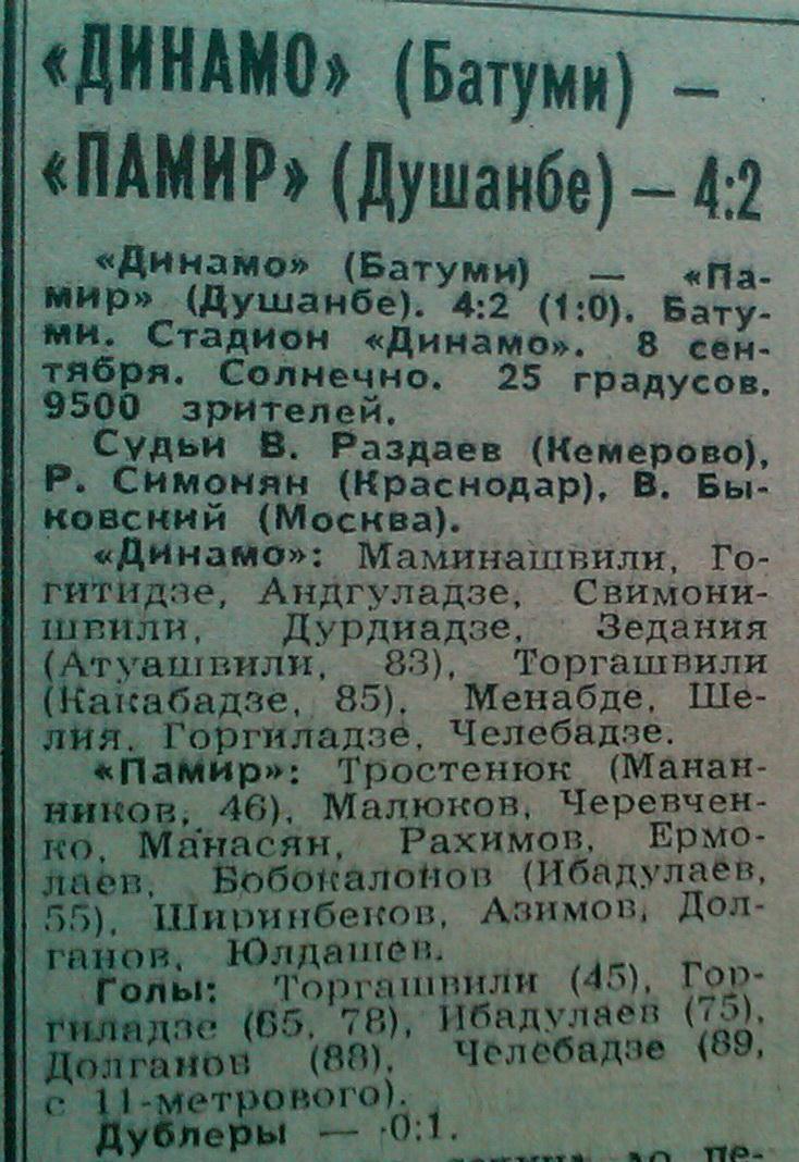 Динамо (Батуми) - Памир (Душанбе) 4:2