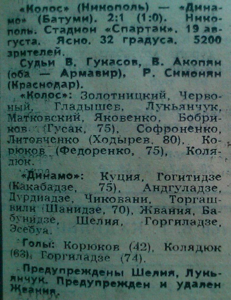 Колос (Никополь) - Динамо (Батуми) 2:1