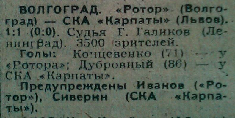 Ротор (Волгоград) - СКА Карпаты (Львов) 1:1