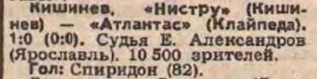 Нистру (Кишинёв) - Атлантас (Клайпеда) 1:0