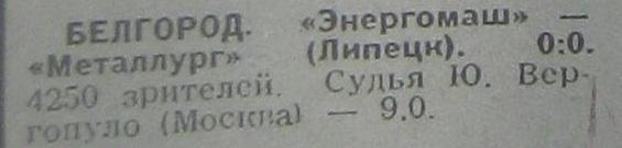 Энергомаш (Белгород) - Металлург (Липецк) 0:0